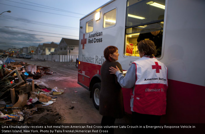 Donate to Sandy relief efforts. Pictured: American Red Cross